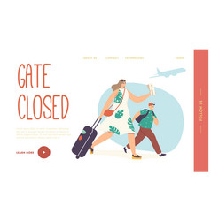Mother with child late for plane boarding landing vector
