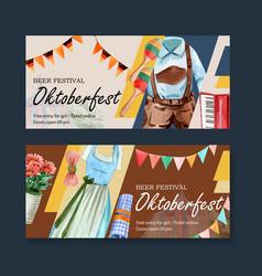 Oktoberfest banner design with trachten outfit vector