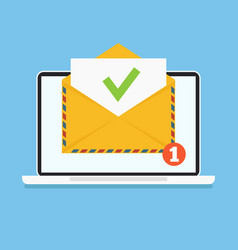 open envelop with green tick doc email vector image
