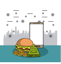 Order and delivery of food vector