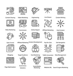 pack of line internet and digital marketing icons vector image