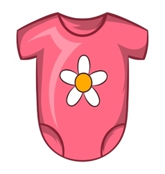 Pink baby bodysuit icon cartoon style vector
