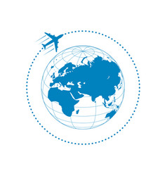 plane and globe vector image