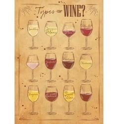 Poster wine kraft vector