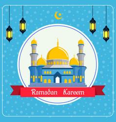 Ramadan kareem sale with mosque and lantern backgr vector