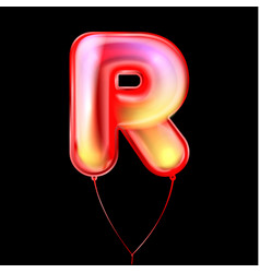 Red metallic balloon inflated alphabet symbol r vector