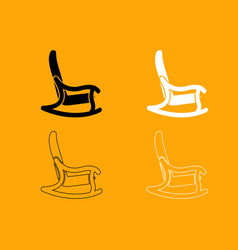Rocking chair set black and white icon vector