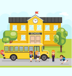 school bus boy girls pupil education building vector image