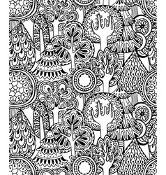 Seamless pattern with hand drawn doodle trees vector