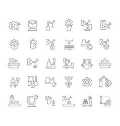 Set line icons manufacturing business vector
