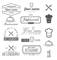 Set of logo and logotype elements for restaurant vector