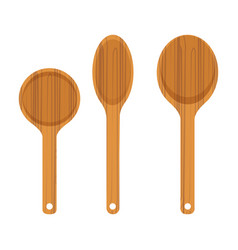 set of wooden kitchen spoon icon vector image vector image