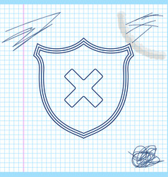 shield and cross x mark line sketch icon isolated vector image