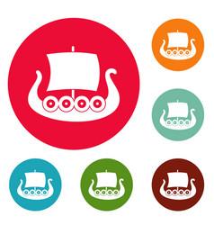 ship viking icons circle set vector image