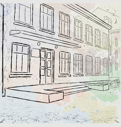 sketch of a municipal building painted with vector image