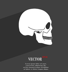Skull symbol Flat modern web design with long vector image