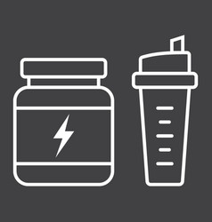 whey protein with sports shaker line icon vector image