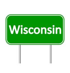 Wisconsin green road sign vector