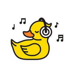 yellow duck in headphones icon musical concept vector image