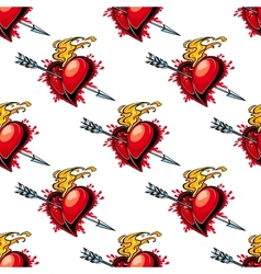 Flaming red heart pierced by an arrow vector image