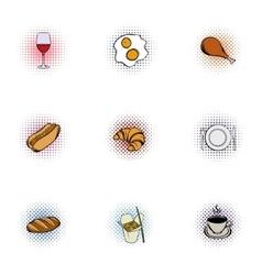 Quick snack icons set pop-art style vector