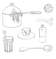 sketch with kitchen equipment vector image vector image