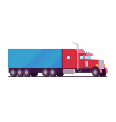 american rig big truck red color with a blue vector image