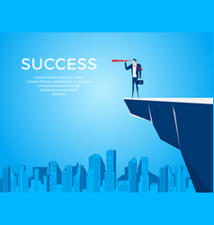 businessman stand on cliff edge mountain using vector image