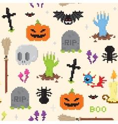 Halloween pixel art pattern vector image vector image