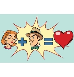 Man plus woman equal love vector image vector image