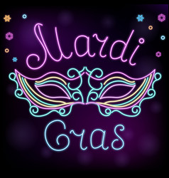 mardi gras neon mask decoration to fat tuesday vector image