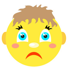 sad smiley boy icons on a white background vector image vector image