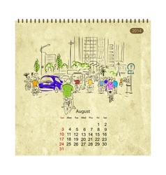 Calendar 2014 august Streets of the city sketch vector image