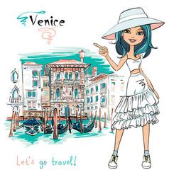 Cute fashion girl in venice italia vector