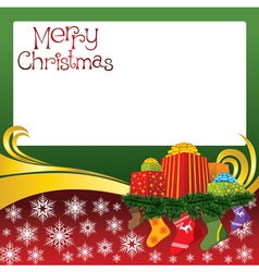 2012 christmas card with gifts and socks vector image vector image