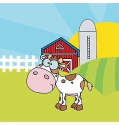 Calf Different Color White In Front Of Farm vector image