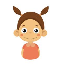 content smiling little girl flat cartoon portrait vector image