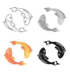 koi fishes icon in cartoon style isolated on white vector image
