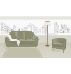 room with a sofa vector image