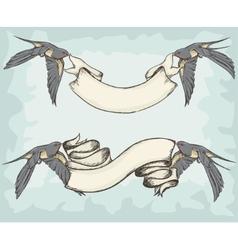 Swallows holding ribbons vector