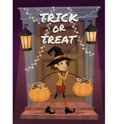 Trick or Treat lettering Child in Halloween vector image