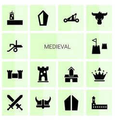 14 medieval icons vector
