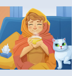 a sick cold woman f with cup of hot tea vector image