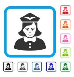 Airline stewardess framed joyful icon vector