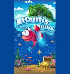 atlantis ruins gui mobile format vector image