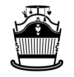 Baby rocking crib icon simple style vector
