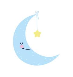 Bashower cute half moon hanging star vector