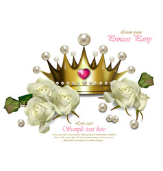 Beautiful pearl crown and white roses vector