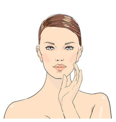 beauty care beautiful girl young vector image
