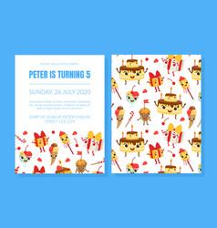 Birthday party invitation card template cute vector